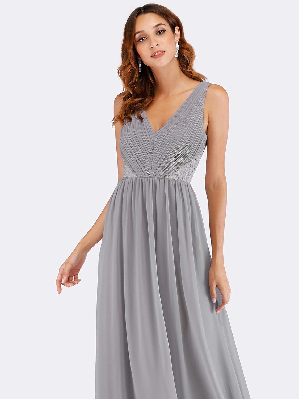 Ever-Pretty A-l/ínea Vestido de Noche Apliques Tul Escote Cuello en V para Mujer 00930