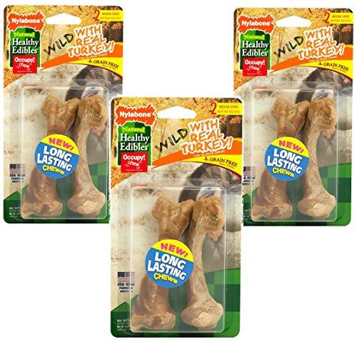 Nylabone Healthy Edibles Wild Turkey Medium 2pk For Sale