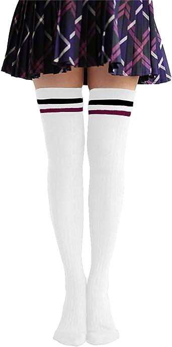 3 Colori 3 Paia Classic Striscia Tripla Calze Donna Ginocchio Calze Alte Calzini Morbidi di Cotone Tubo per Costume