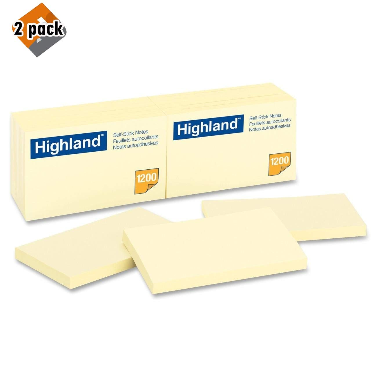 Highland Notes, 3 x 5-Inches, Yellow, 100 Count, Pack of 12 (6559) - 2 Pack