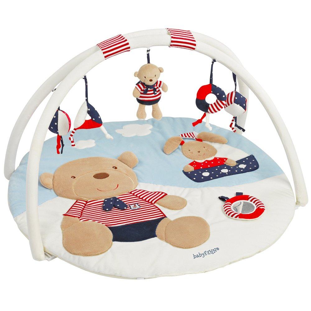 Spielbogen mit 5 abnehmbaren Spielzeugen f/ür Babys Spiel /& Spa/ß von Geburt an /Ø85cm Ma/ße Fehn 081664 3-D-Activity-Decke Affe