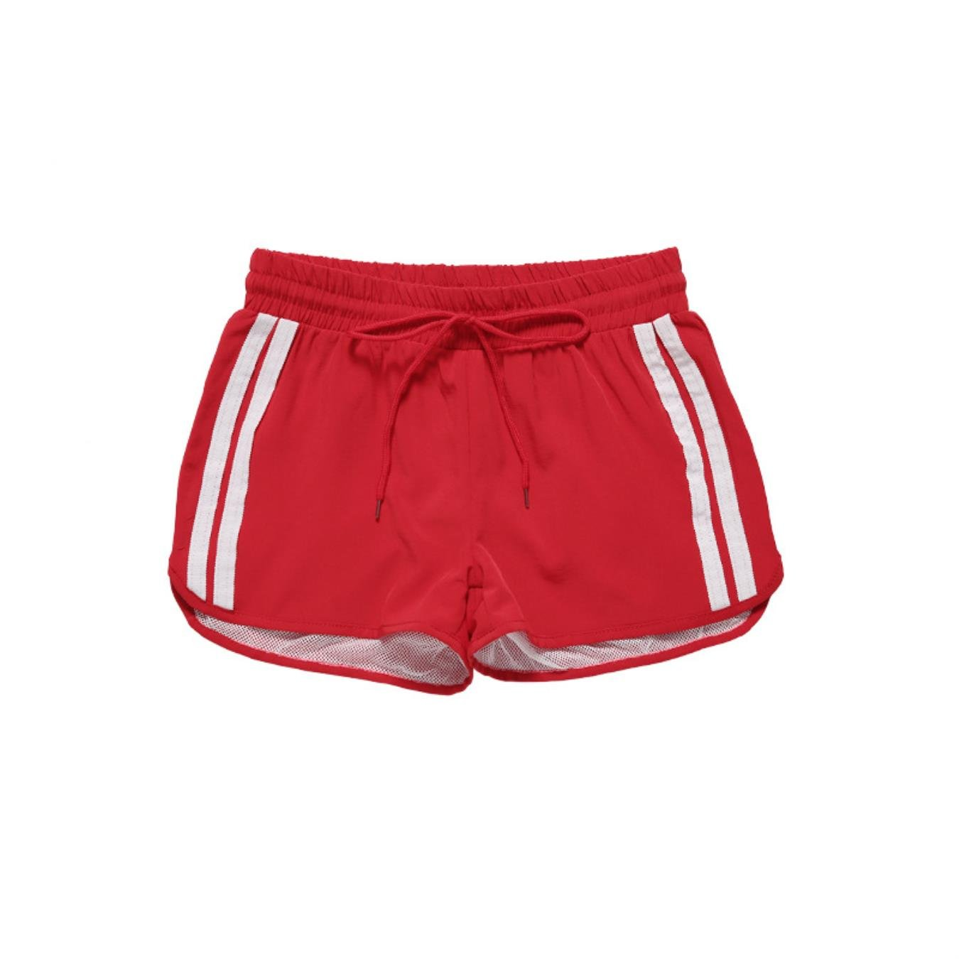 COESV Women Quick Drying Fitness 2 in 1 Grid Stripe Running Shorts