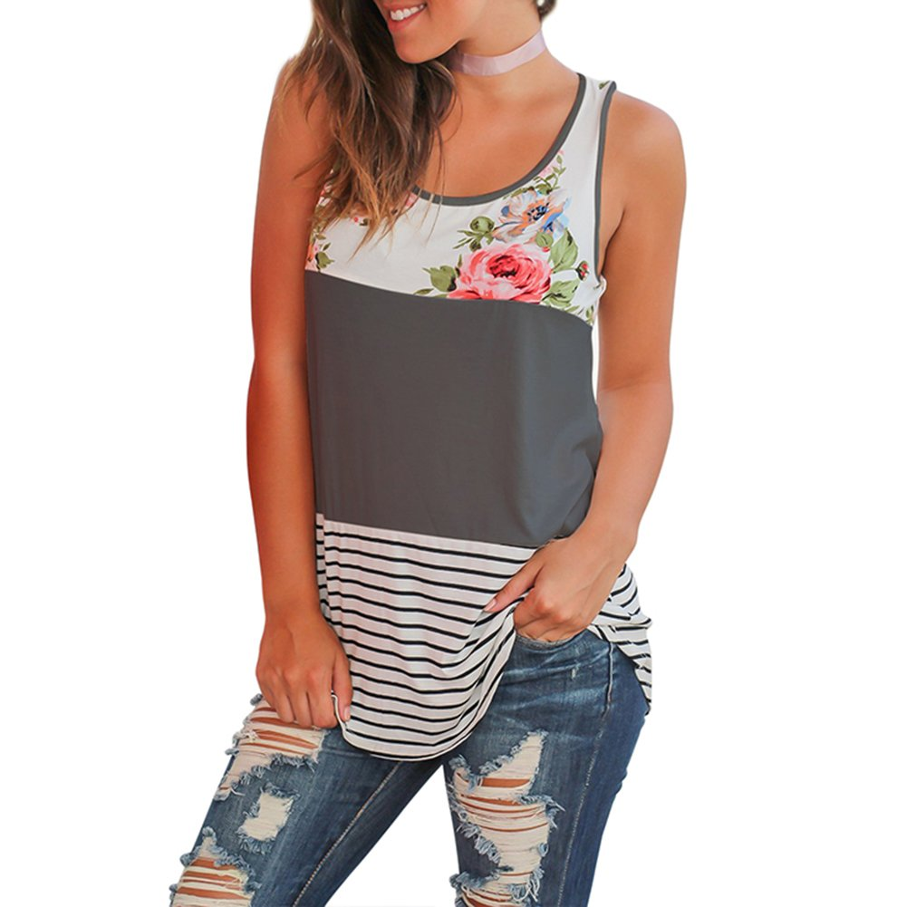 AEL Women's Summer Casual Round Neck Sleeveless Striped Tank Tops Color Block Loose Shirt(Gray,M)