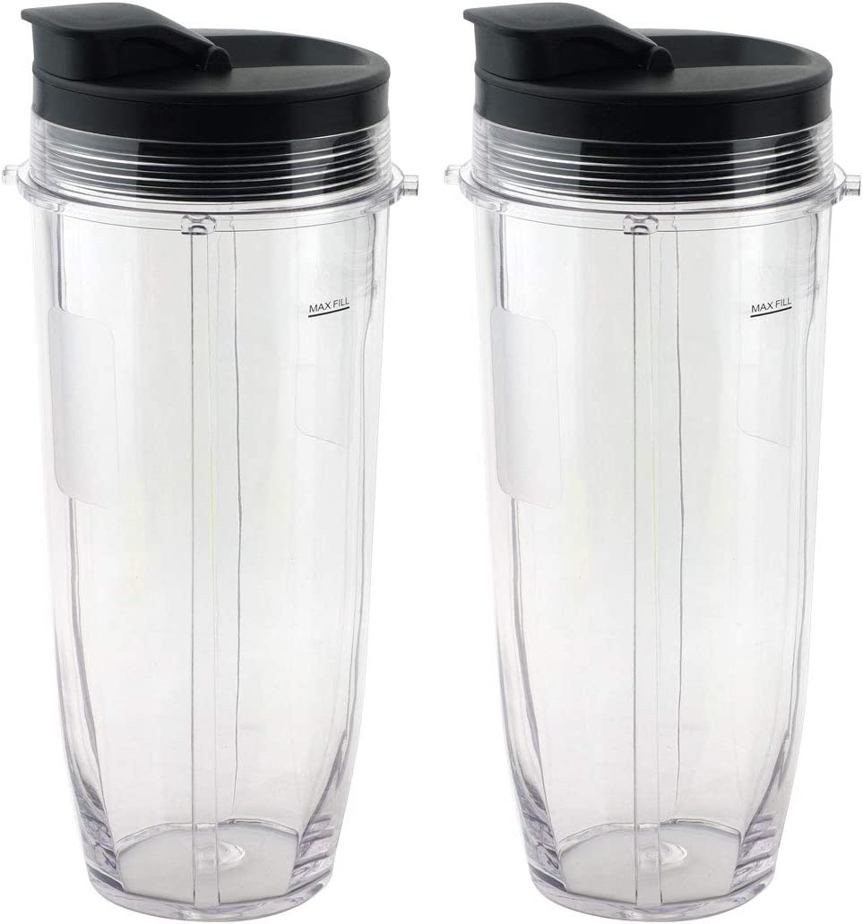 2 Pack 32 oz Cups with Spout Lids Replacement for Nutri Ninja BlendMax DUO with Auto-iQ Boost, Parts 407KKU641 528KKUN10