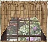 Swag Window Curtain Burlap Check Design 100% Pure Cotton Fabric 72″x36″ in Natural Sand, Black Color IHF Home Decor