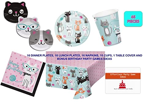 Pleasing Amazon Com Cat Birthday Party Supplies Set For 16 Guests Interior Design Ideas Apansoteloinfo