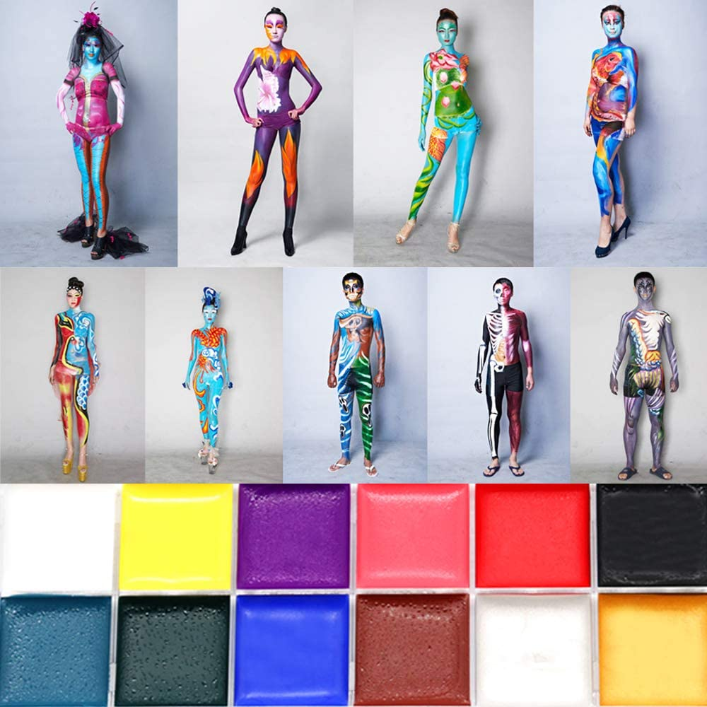 Amazon Com Face Paint Sets For Kids Adults Non Toxic Safe 12 Vibrant Colors Body Painting Kits Video Tutorials Ebook Fun Easy To Use