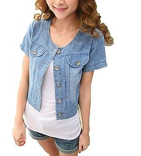 super popular c0e2d a4025 ONLY Damen Jacke Jeansjacke Jeans Kurzarm WESTA Detail Cropp ...