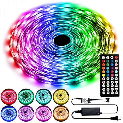 65.6ft LED Strip Lights, Ultra Long Color Changing LED Lights Strip with 44Key IR Remote, SMD 5050 RGB LED Strips with 24V Power Supply, Flexible LED Lights for Bedroom Home Party Christmas Decoration
