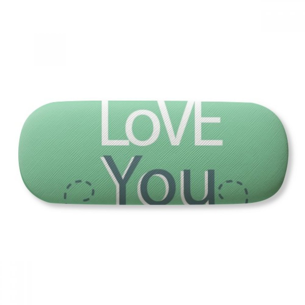 Green I Love You Valentines Day Glasses Case Eyeglasses Clam Shell Holder Storage Box
