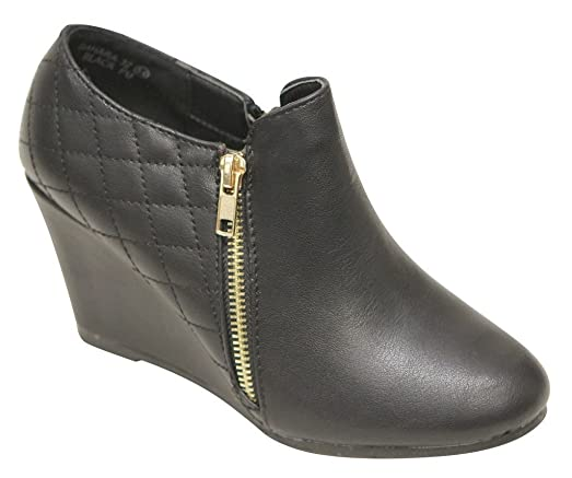 Sahara-32 Women's almond toe wedge heel side zippers and criss cross quilted low ankle PU booties