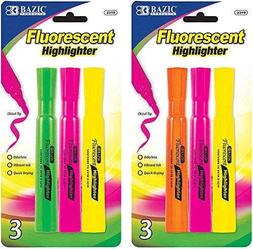 BAZIC Desk Style Fluorescent Highlighters (3/Pack) 144 pcs sku# 1891286MA