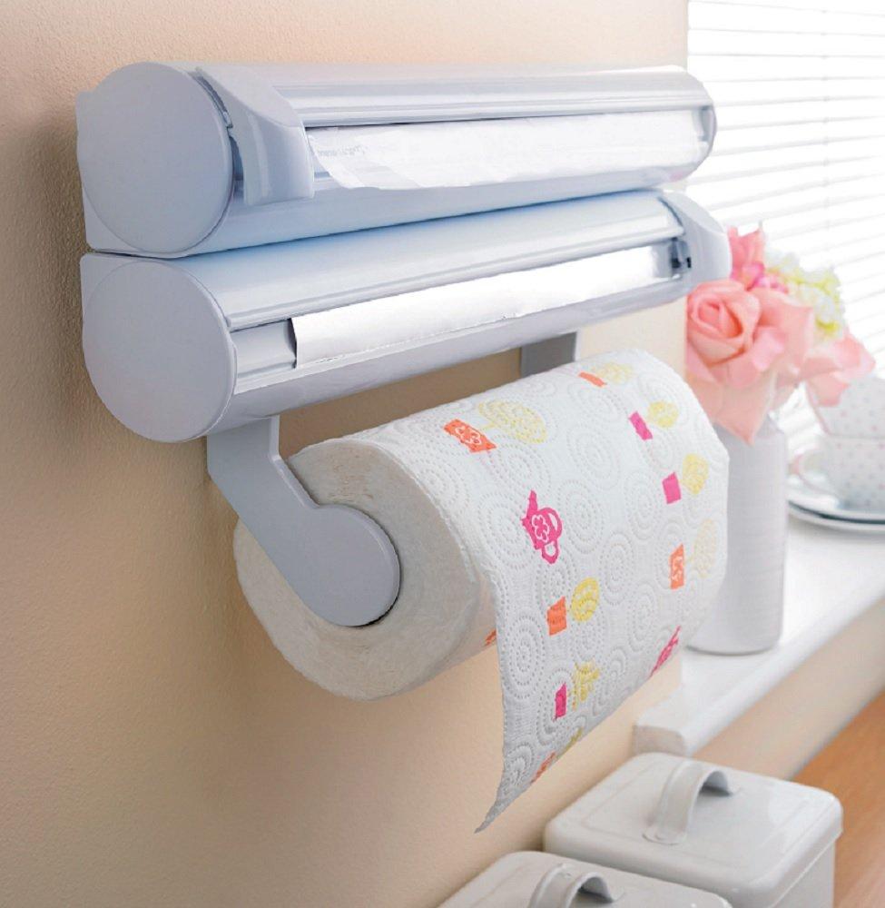 Kitchen Foil Cling Film Paper Towel Wall Dispenser Tidy Organiser:  Amazon.co.uk: Kitchen U0026 Home