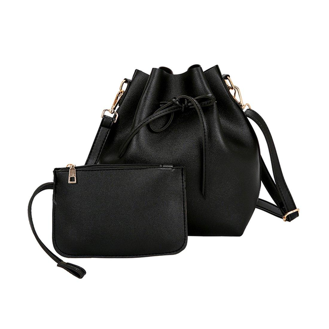 Women Textured Faux Leather Drawstring Style Mini Handbag Bucket Shoulder Bag (Black2)