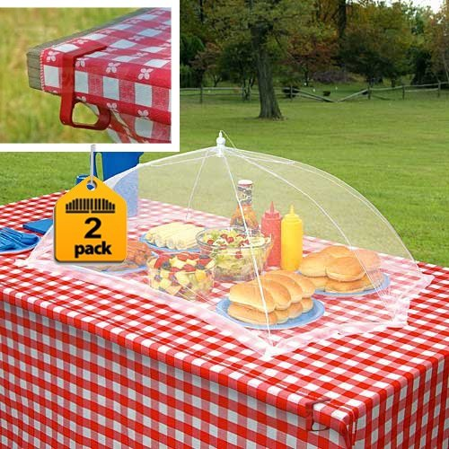 Prextex set of 2 giant food tents with 4 tablecloth clamps that will keep your picnic tablecloth in Place , by Prextex (Image #2)