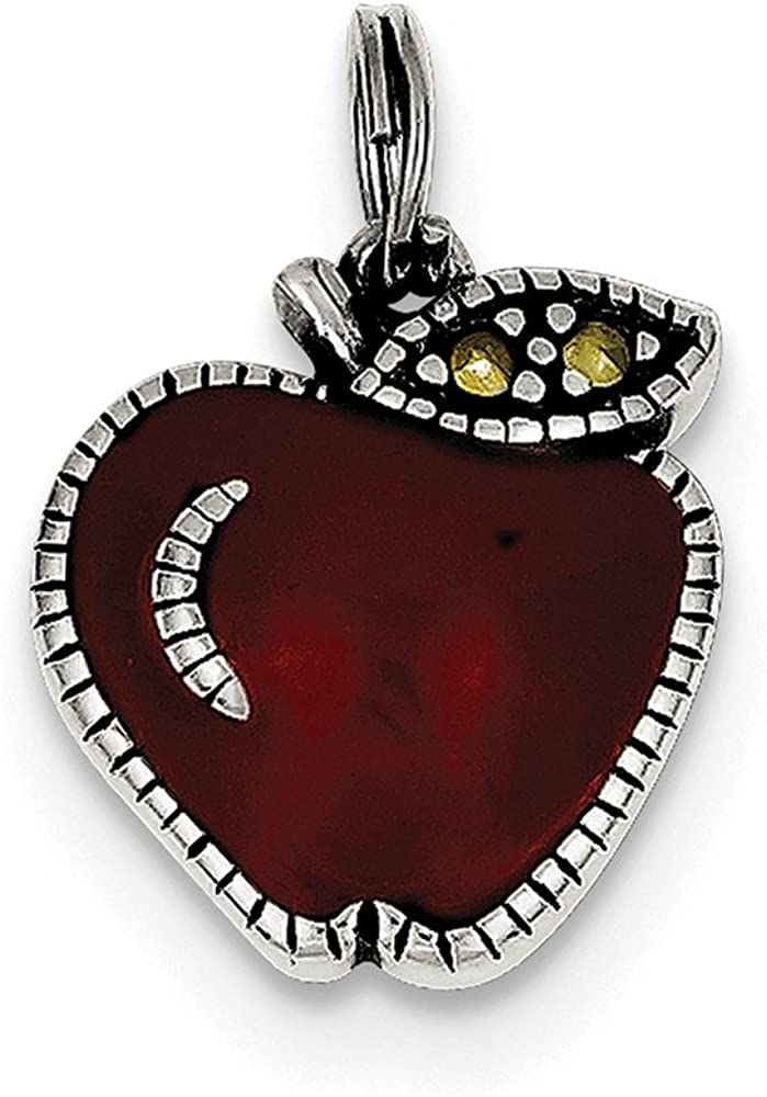 Solid 925 Sterling Silver Enameled Red Apple Charm Pendant 15mm