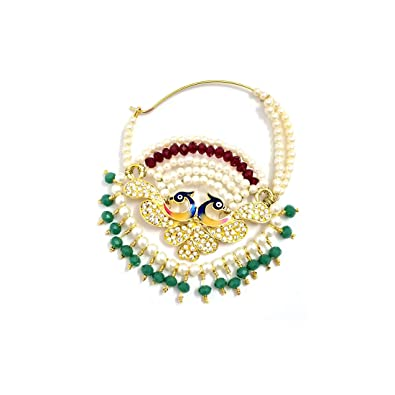 Buy Indian Mores Two Peacocks Design with Multi-color Beads Nose