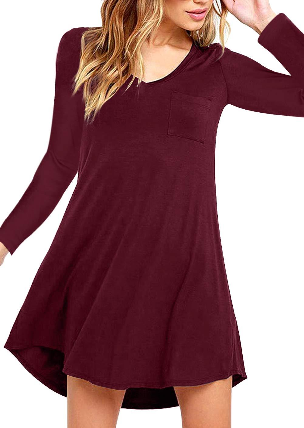Eanklosco Damen Kleid Beiläufig V-Ausschnitt Lange Ärmel T Shirt Kleid mit Taschen (XXL, Weinrot)