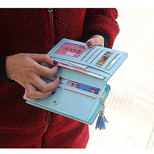 WoolalaDamensniedlichenHundlangeHandtascheNubukTelefonHalterReißverschluss GeldbörsemitQuasteAnhänger,blau Green