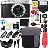 Fujifilm X-E3 24.3 MP Mirrorless Digital Camera (Silver) with XF 23mm F2 R WR Lens + 64GB Memory & Flash Accessory Bundle