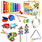 Musical Instruments Set with Xylophone for Kids - 15 Pcs. Toddler Wooden Toy Percussion Set with Carrying Bag, Smart Wallaby 10 Musical Activities eBook Bonus