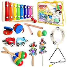 ASTM Certified Musical Instruments Set with Xylophone for Kids. 15 Pcs. Toddler Wooden Toy Percussion Set with a FREE SMART WALLABY musical games eBook BONUS and a Free Carrying Bag