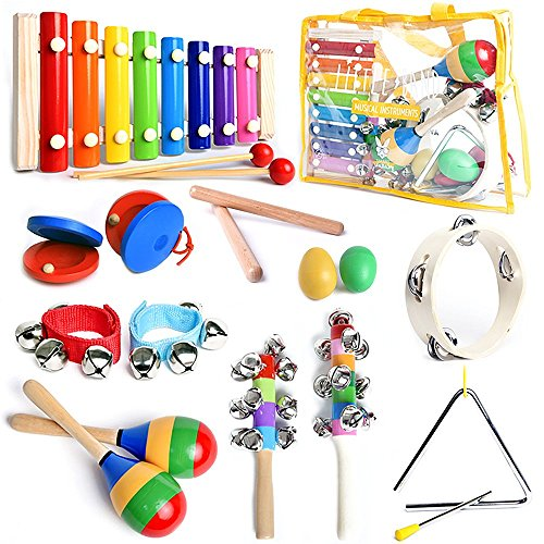 SMART WALLABY ASTM Certified Musical Instruments Set with Xylophone for Kids. 15 Pcs. Toddler Wooden Toy Percussion Set with a Free Musical Games eBook Bonus and a Free Carrying Bag