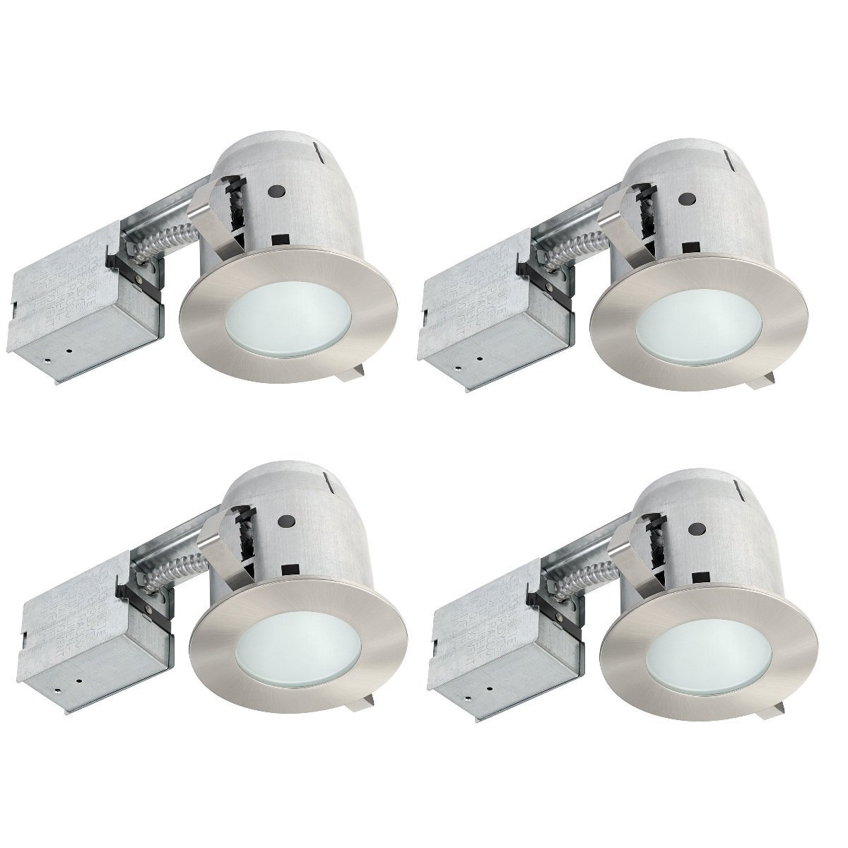 Globe electric 4 ic rated bathroom recessed lighting kit 4 pack globe electric 4 ic rated bathroom recessed lighting kit 4 pack frosted glass brushed nickel 4 led bulbs included 90973 amazon aloadofball Image collections
