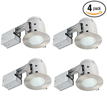 Globe electric 4 ic rated bathroom recessed lighting kit 4 pack globe electric 4quot ic rated bathroom recessed lighting kit 4 pack frosted aloadofball Images
