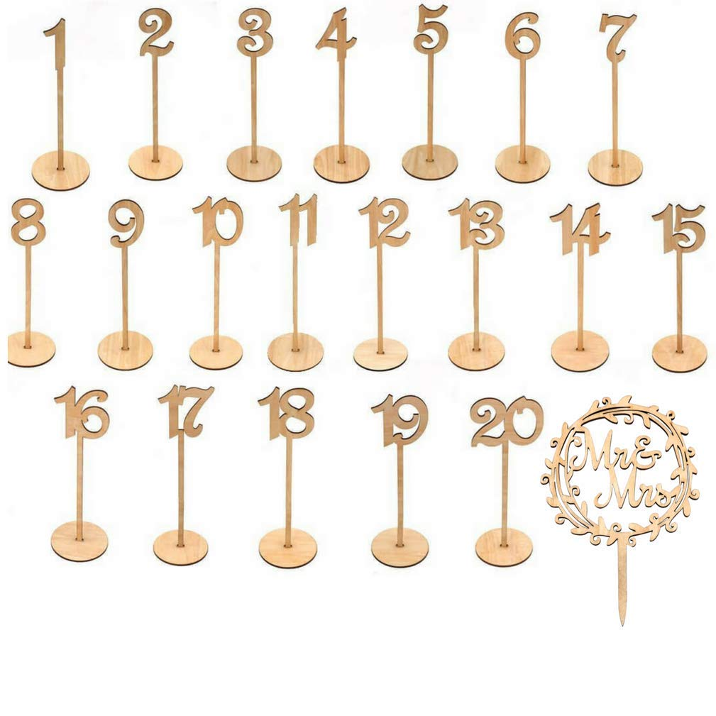 TRH Milwaukee Products, LLC Wooden Wedding Table Numbers with Thick Sturdy Holder Base (Set of 1-20) - Simplistic Rustic Design for Beautiful Receptions