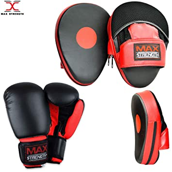 80/% Straight Focus Pads 12oz 16oz Gloves Hand Wraps Combo BOXING TRAINER SET