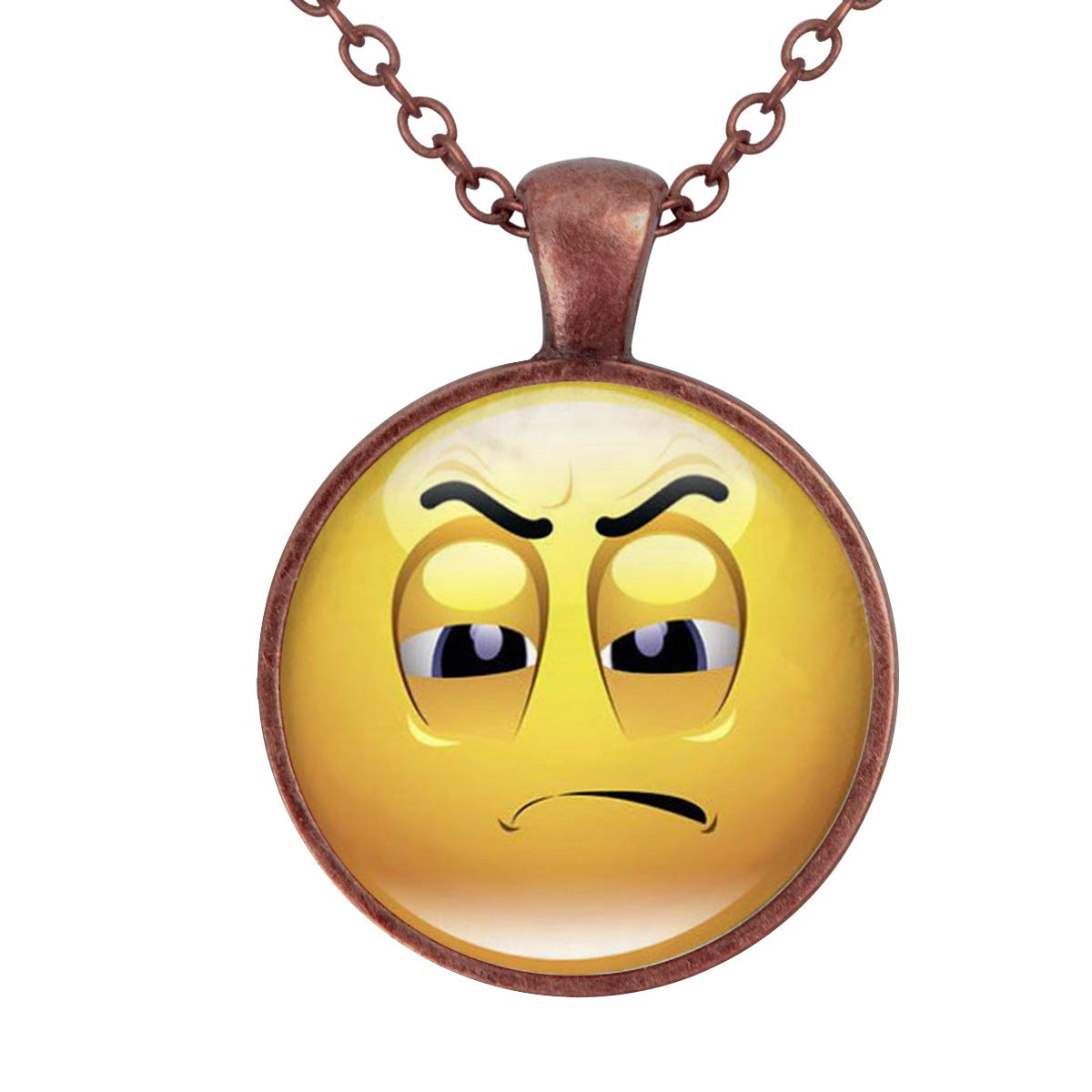 Family Decor Emoji Face Wronged Pendant Necklace Cabochon Glass Vintage Bronze Chain Necklace Jewelry Handmade