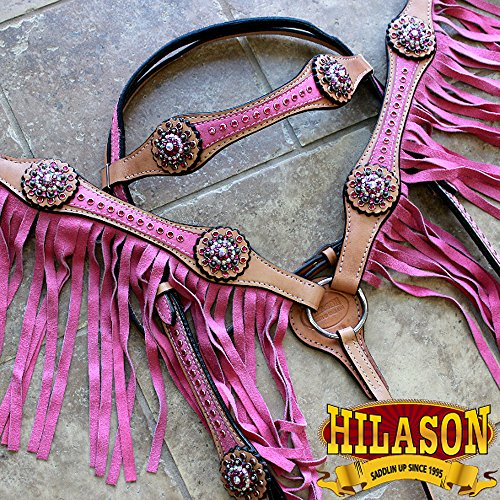 - HILASON American Leather Headstall Breast Collar Tan Pink Fringes Concho