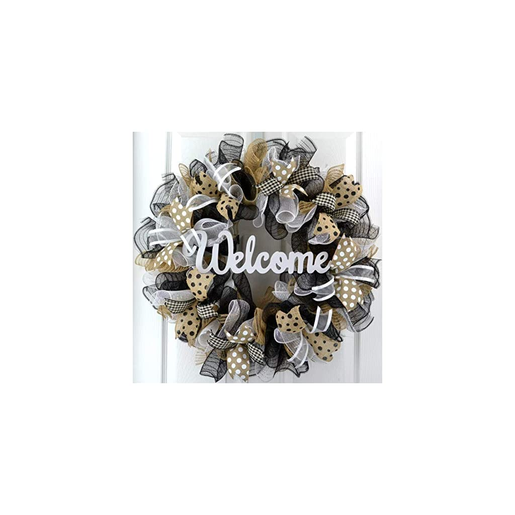 Welcome Wreaths Front Door- Burlap Everyday Year Round Outdoor Decor – Mothers Day Gift for Mom – Black Jute White – M5
