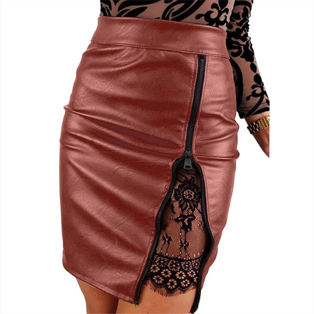 Festnight Nuevas Mujeres Sexy PU Falda de Cuero Sólido Cintura ...