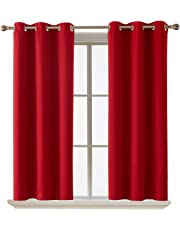 Deconovo Room Darkening Curtain Thermal Insulated Blackdout Curtains for Kids Room Red 38 x 63 Inch 2 Panels