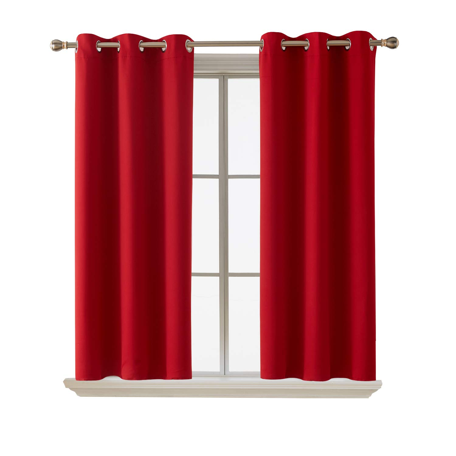 Deconovo Blackout Curtains Room Darkening Thermal Insulated Curtain Panels Grommet for Living Room Red 38 x 45 Inch 2 Panels