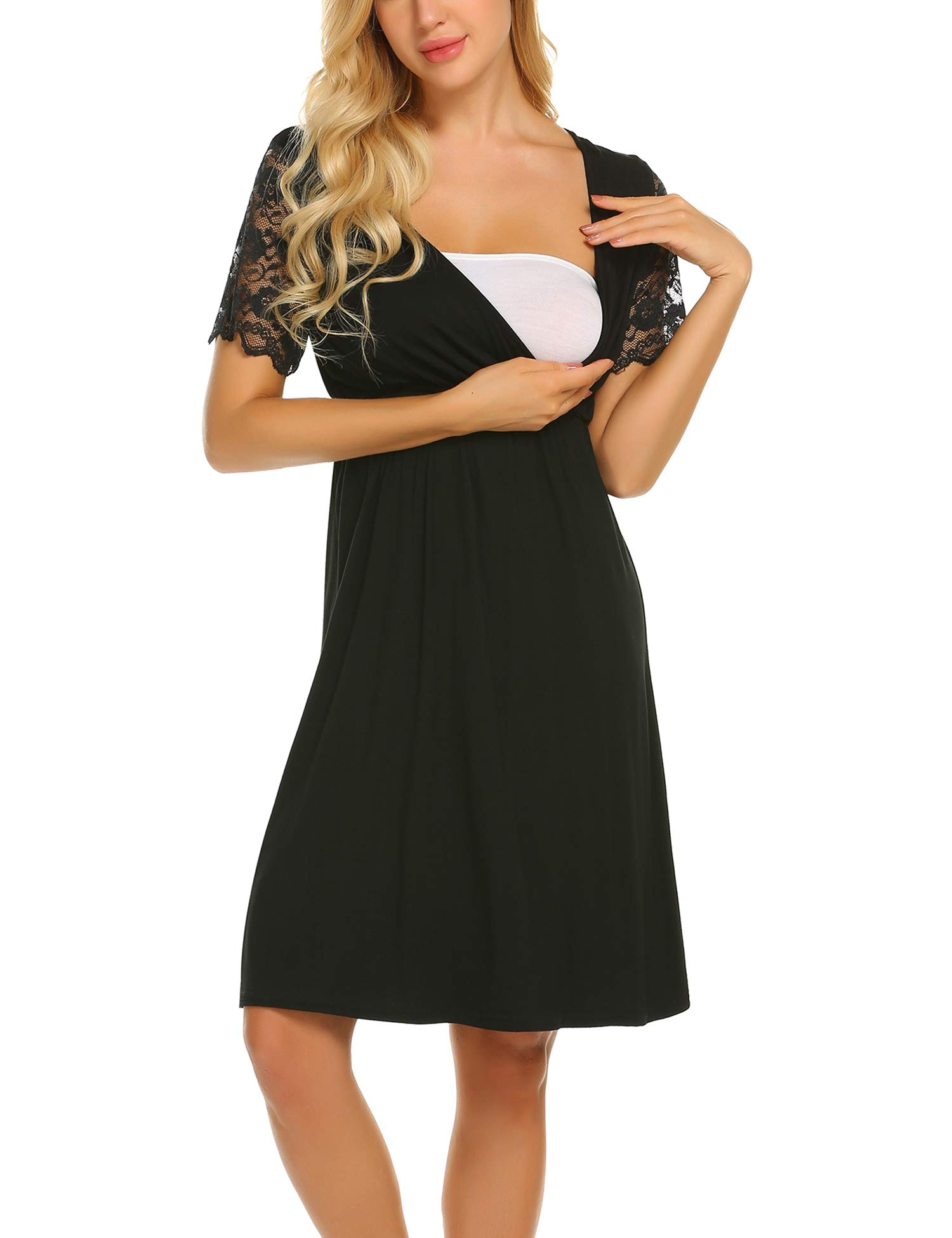MAXMODA Womens Delivery/Labor/Maternity/Nursing Nightgown Pregnancy Gown for Hospital Breastfeeding Dress (Large, Black)