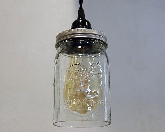 Amazon.com: Pantalla de tarro Mason de vidrio con base ...