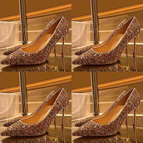 Femmes Talons Escarpins Sexy Mode Or Mariée Chaussures De Mariage Chaussures En Cuir Chaussures Discothèque Fête Gold(8.5cm) uWMunfKpC0