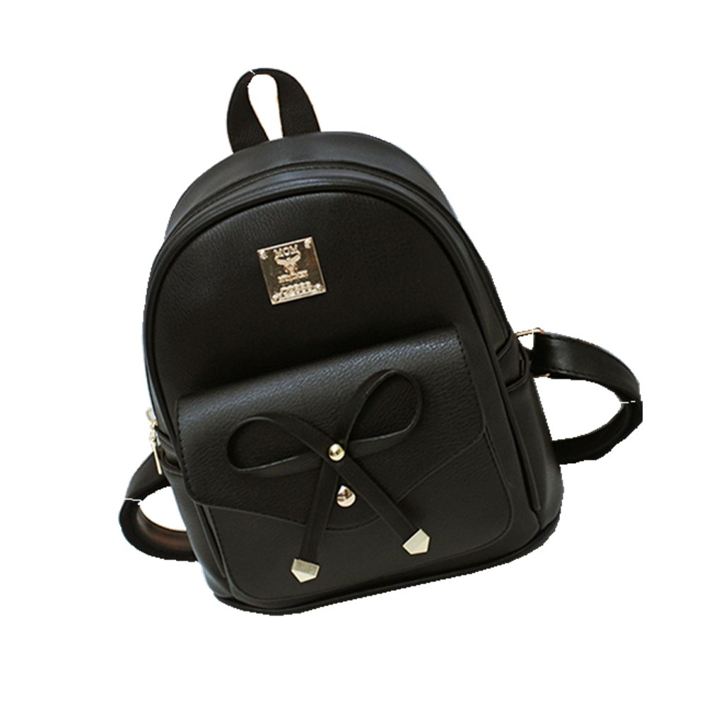 Women Backpack Purse PU Washed Leather Large Capacity Ladies Rucksack Shoulder Bag (small size black)
