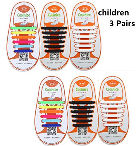 3 Pairs COOLNICE The Elastic Tie-free and Wash-free Silicone Shoelaces for Children (Colorful Black and White)