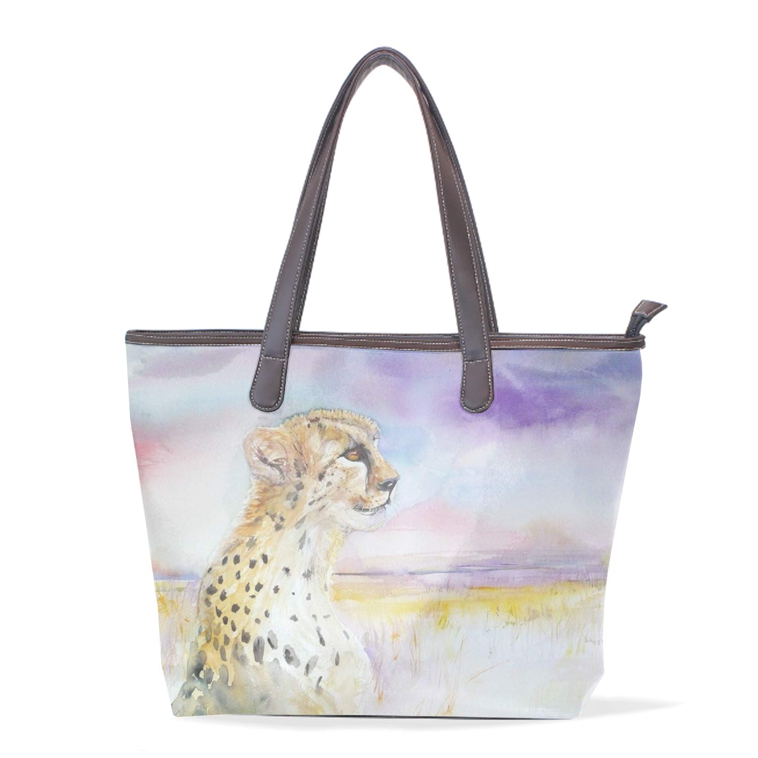 Colorful Sun And Moon Ladies Travel Weekender Overnight Carry-on Shoulder Duffel Tote Bag With PU Leather Strap