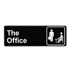 The Office Sign, Main Official Self Adhesive Sign for Door or Wall 9 X 3 Inch Quick and Easy Installation Premium Acrylic Design for Your Home Office/Business, White Big Letters on Black Plate