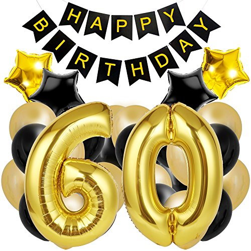 60th Birthday Decorations for The Best 60th Birthday Party - Includes Happy Birthday Banner, Large Number 60 Birthday Latex Balloons + 24 Balloons in Black and Gold. Have a Happy 60th Birthday!]()