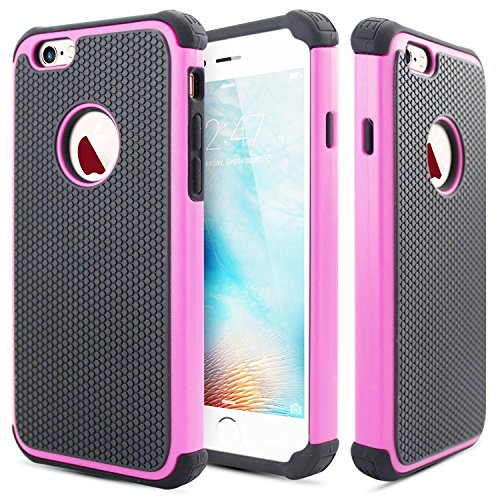 iPhone 6 Plus / 6S Plus Case, Bumper Defender Hard Dual Layer Thin Armor TPU Interior Silicone Heavy Duty Solid PC Back Shock Absorbing Scratch Resistant Hybrid Dual Cover [M012.P003720] (Armor Pink)