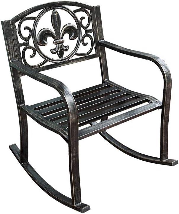 HYYTY-Y Silla Mecedora Individual para Exteriores, Sillón Reforzado De Hierro Forjado para Patio/Patio/Jardín 605-YY (Size : A)