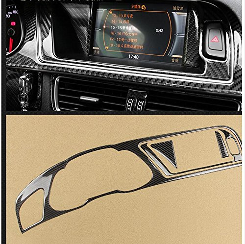 Carbon Fiber Interior Decoration Decal Frame Cover Trim SLine Quattro For Audi A4 S4 2009-2016 LHD (Dashboard Instrument Panel Cluster Meter Cover 17) ()