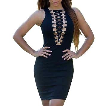 JTC Mini Vestido Negro Elástico Delgado Sin Mangas Falda Cadera del Paquete Otoño Invierno para Mujer
