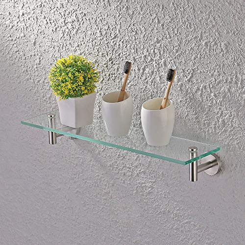 KES 20-Inch Glass Shelf Bathroom Storage Organizer Shelf with 8 MM-Thick Tempered - Bathroom Mirrors For 2 Sinks Small Ideas With